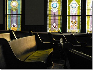 pews and stained glass